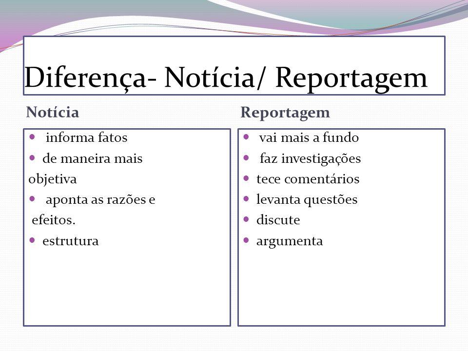 Diferença- Notícia/ Reportagem Notícia Reportagem informa fatos de maneira mais objetiva aponta as razões e efeitos. estrutura vai mais a fundo faz in