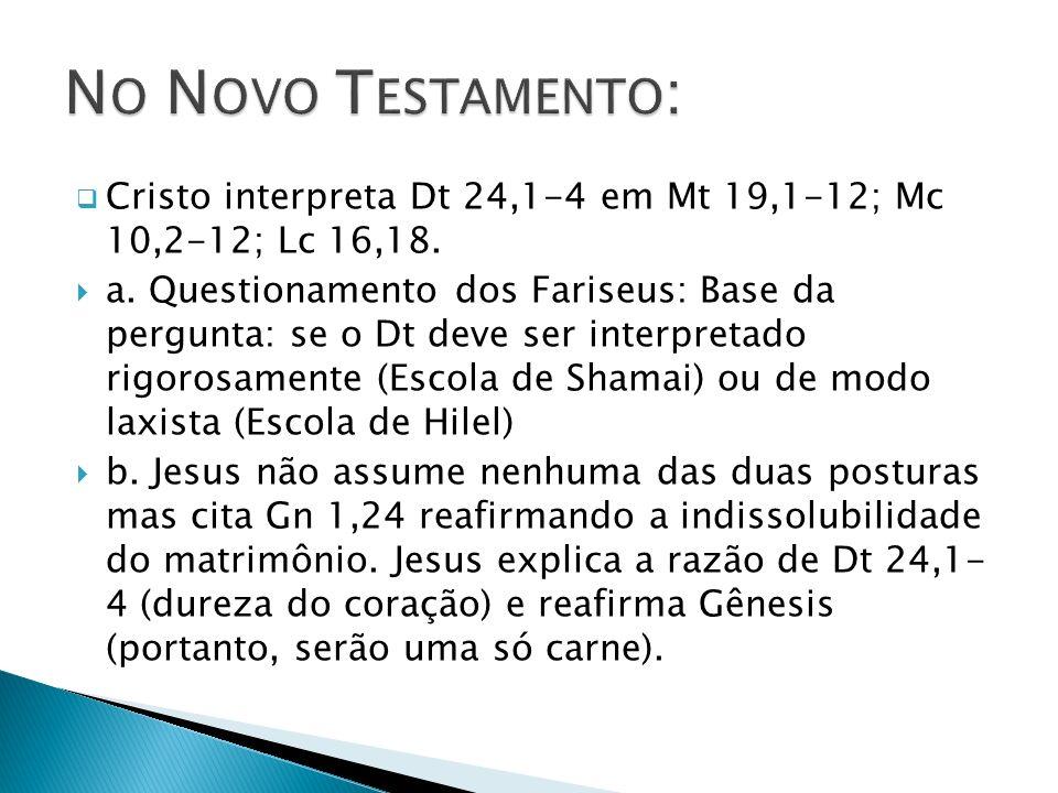 Cristo interpreta Dt 24,1-4 em Mt 19,1-12; Mc 10,2-12; Lc 16,18. a. Questionamento dos Fariseus: Base da pergunta: se o Dt deve ser interpretado rigor