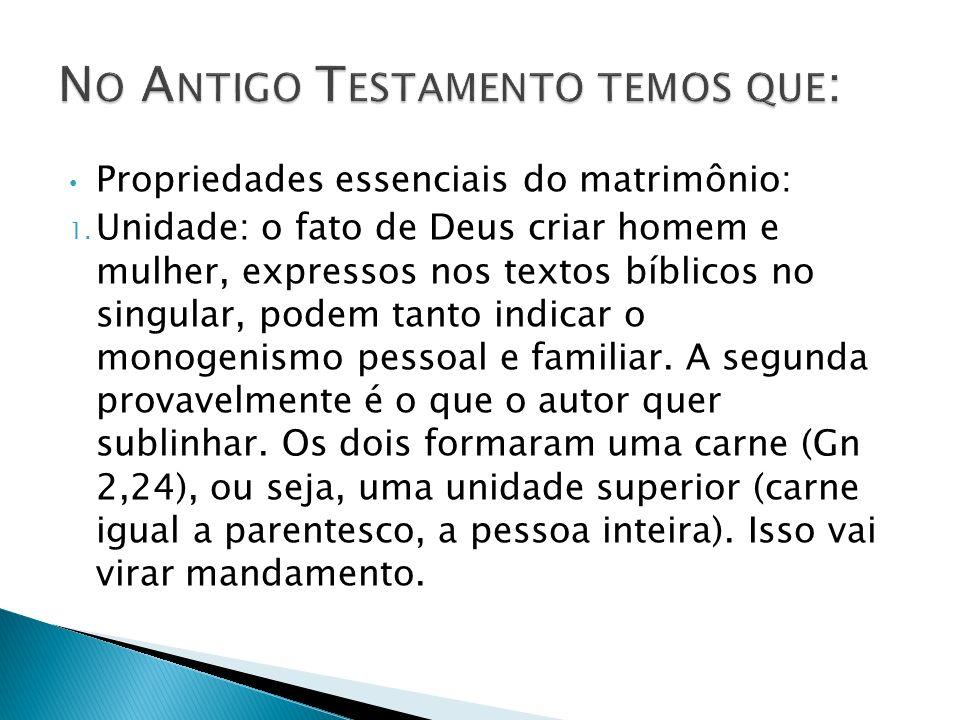Propriedades essenciais do matrimônio: 1. Unidade: o fato de Deus criar homem e mulher, expressos nos textos bíblicos no singular, podem tanto indicar