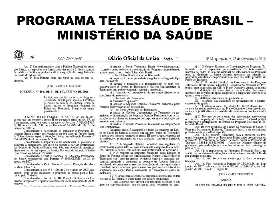 Estratégia Telessaúde Brasil Objetivo Qualificar equipes de Saúde da Família, por meio da utilização de tecnologias de informação e comunicação, capazes de promover a teleducação/teleassistência, melhorando a resolubilidade na atenção básica do Sistema Único de Saúde (SUS).