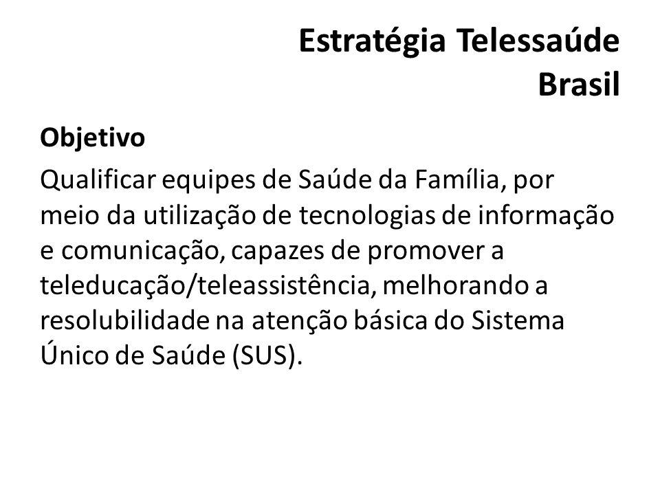 Estratégia Telessaúde Brasil Objetivo Qualificar equipes de Saúde da Família, por meio da utilização de tecnologias de informação e comunicação, capaz