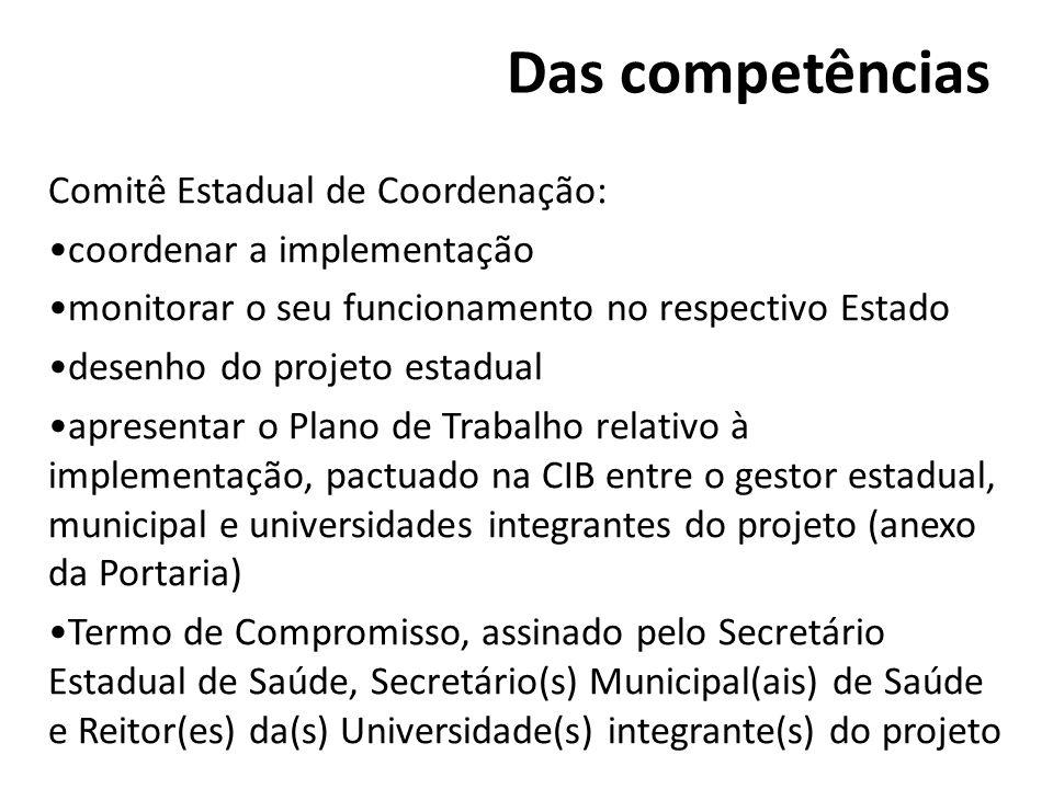 Das competências Comitê Estadual de Coordenação: coordenar a implementação monitorar o seu funcionamento no respectivo Estado desenho do projeto estad