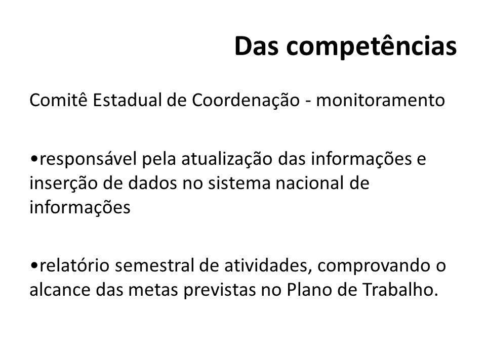 Das competências Comitê Estadual de Coordenação - monitoramento responsável pela atualização das informações e inserção de dados no sistema nacional d