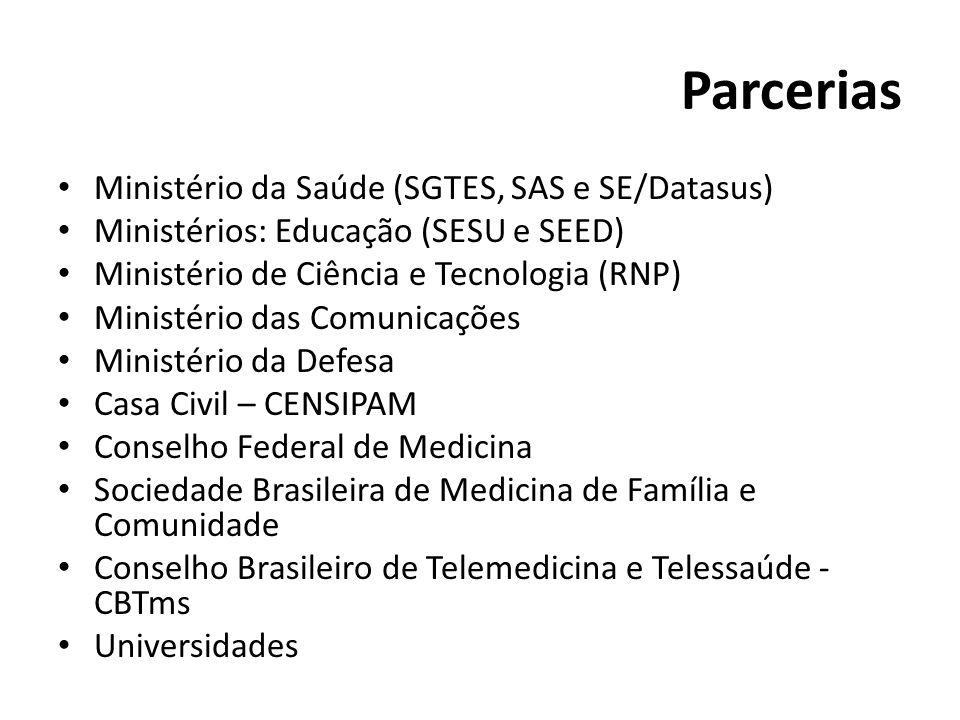 Parcerias Ministério da Saúde (SGTES, SAS e SE/Datasus) Ministérios: Educação (SESU e SEED) Ministério de Ciência e Tecnologia (RNP) Ministério das Co