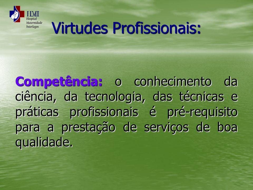 Virtudes Profissionais: Competência: o conhecimento da ciência, da tecnologia, das técnicas e práticas profissionais é pré-requisito para a prestação