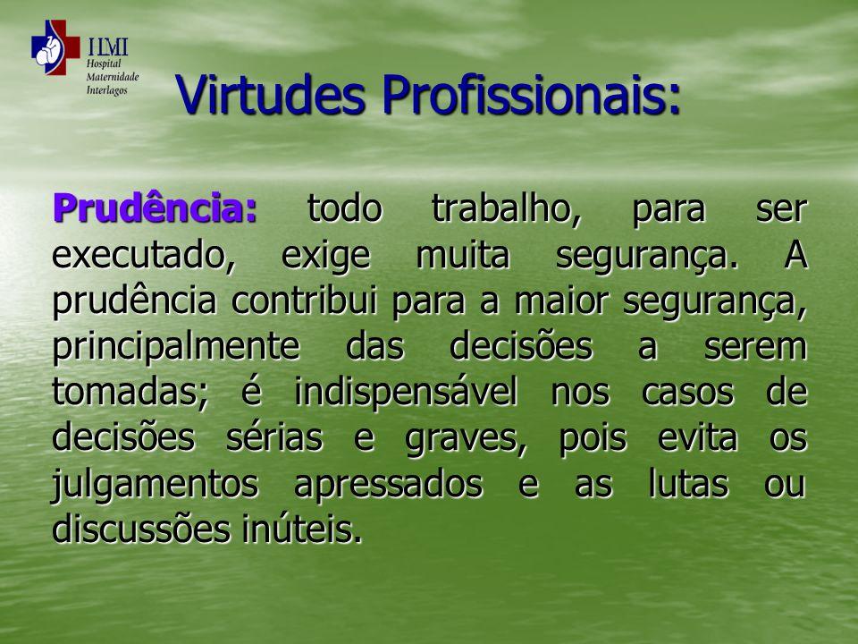 Virtudes Profissionais: Prudência: todo trabalho, para ser executado, exige muita segurança. A prudência contribui para a maior segurança, principalme