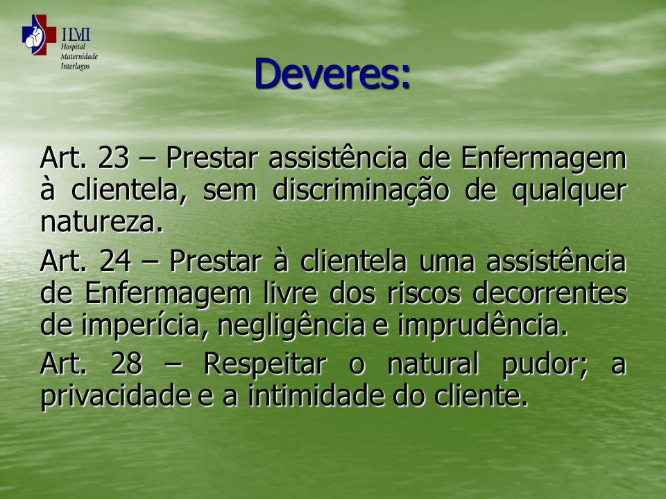 Deveres: Art. 23 – Prestar assistência de Enfermagem à clientela, sem discriminação de qualquer natureza. Art. 24 – Prestar à clientela uma assistênci