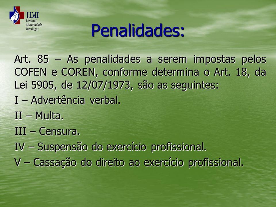 Penalidades: Art. 85 – As penalidades a serem impostas pelos COFEN e COREN, conforme determina o Art. 18, da Lei 5905, de 12/07/1973, são as seguintes