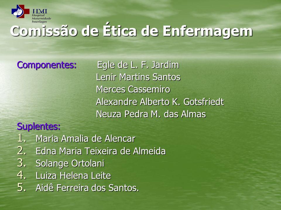 Comissão de Ética de Enfermagem Componentes: Egle de L. F. Jardim Lenir Martins Santos Lenir Martins Santos Merces Cassemiro Merces Cassemiro Alexandr