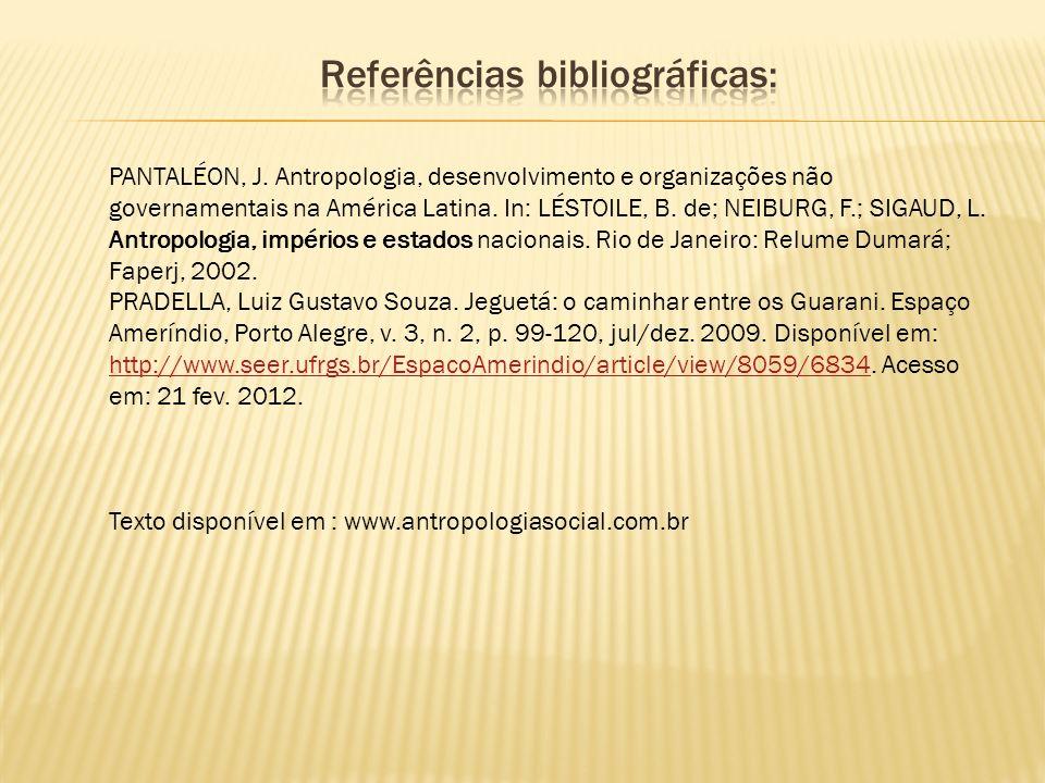 PANTALÉON, J. Antropologia, desenvolvimento e organizações não governamentais na América Latina. In: LÉSTOILE, B. de; NEIBURG, F.; SIGAUD, L. Antropol
