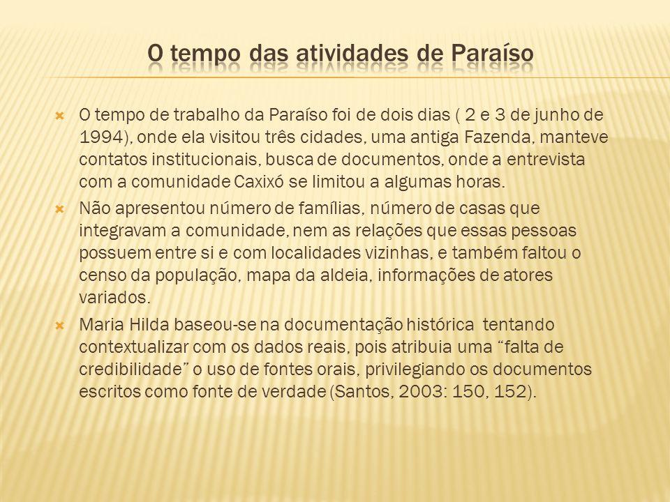 O tempo de trabalho da Paraíso foi de dois dias ( 2 e 3 de junho de 1994), onde ela visitou três cidades, uma antiga Fazenda, manteve contatos institu
