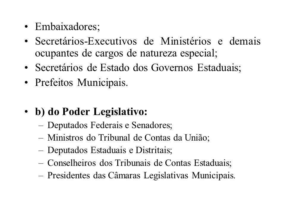 Embaixadores; Secretários-Executivos de Ministérios e demais ocupantes de cargos de natureza especial; Secretários de Estado dos Governos Estaduais; P