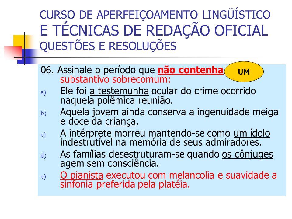 CURSO DE APERFEIÇOAMENTO LINGÜÍSTICO E TÉCNICAS DE REDAÇÃO OFICIAL QUESTÕES E RESOLUÇÕES 06.