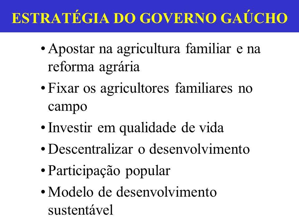 Apostar na agricultura familiar e na reforma agrária Fixar os agricultores familiares no campo Investir em qualidade de vida Descentralizar o desenvol