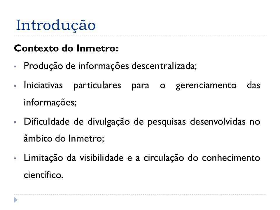 Introdução Contexto do Inmetro: Produção de informações descentralizada; Iniciativas particulares para o gerenciamento das informações; Dificuldade de divulgação de pesquisas desenvolvidas no âmbito do Inmetro; Limitação da visibilidade e a circulação do conhecimento científico.