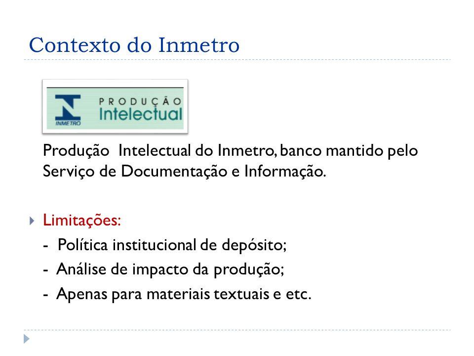 Contexto do Inmetro Produção Intelectual do Inmetro, banco mantido pelo Serviço de Documentação e Informação.