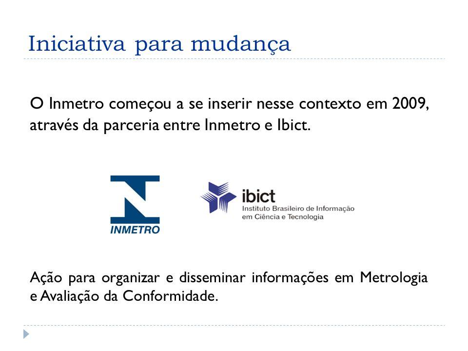 Iniciativa para mudança O Inmetro começou a se inserir nesse contexto em 2009, através da parceria entre Inmetro e Ibict.