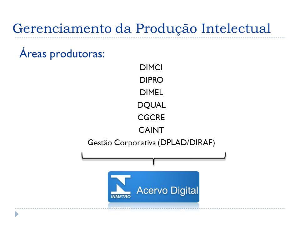 Gerenciamento da Produção Intelectual Áreas produtoras: DIMCI DIPRO DIMEL DQUAL CGCRE CAINT Gestão Corporativa (DPLAD/DIRAF)