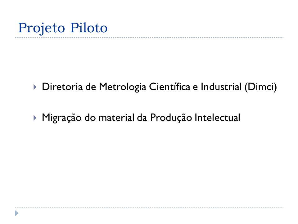 Projeto Piloto Diretoria de Metrologia Científica e Industrial (Dimci) Migração do material da Produção Intelectual