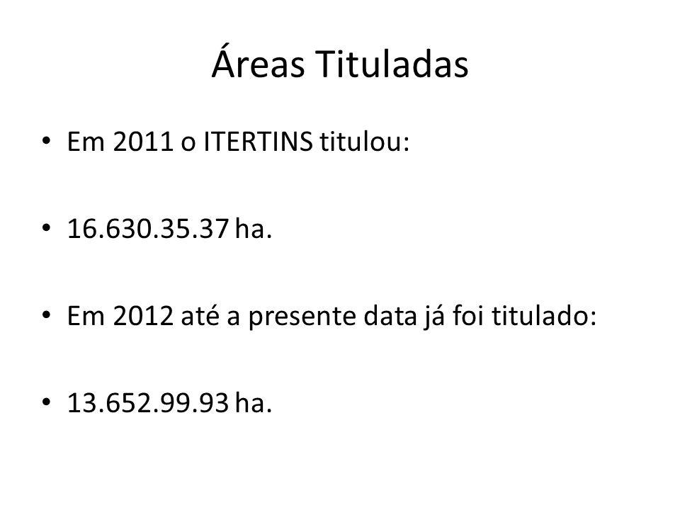 Áreas Tituladas Em 2011 o ITERTINS titulou: 16.630.35.37 ha. Em 2012 até a presente data já foi titulado: 13.652.99.93 ha.