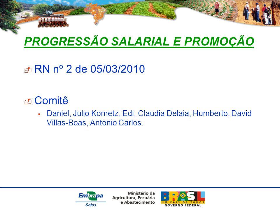 PROGRESSÃO SALARIAL E PROMOÇÃO RN nº 2 de 05/03/2010 Comitê Daniel, Julio Kornetz, Edi, Claudia Delaia, Humberto, David Villas-Boas, Antonio Carlos.