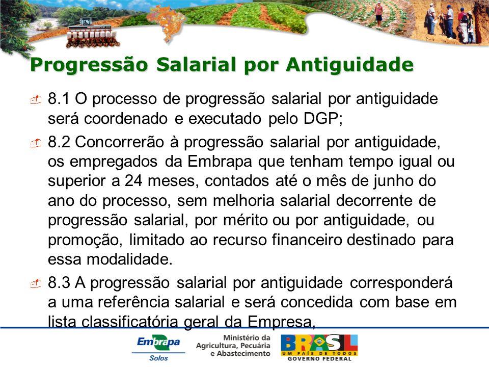 Progressão Salarial por Antiguidade 8.1 O processo de progressão salarial por antiguidade será coordenado e executado pelo DGP; 8.2 Concorrerão à prog