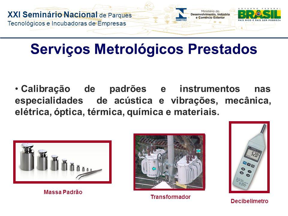 XXI Seminário Nacional de Parques Tecnológicos e Incubadoras de Empresas Metrologia Científica e Industrial Busca permanente de confiança nas medições