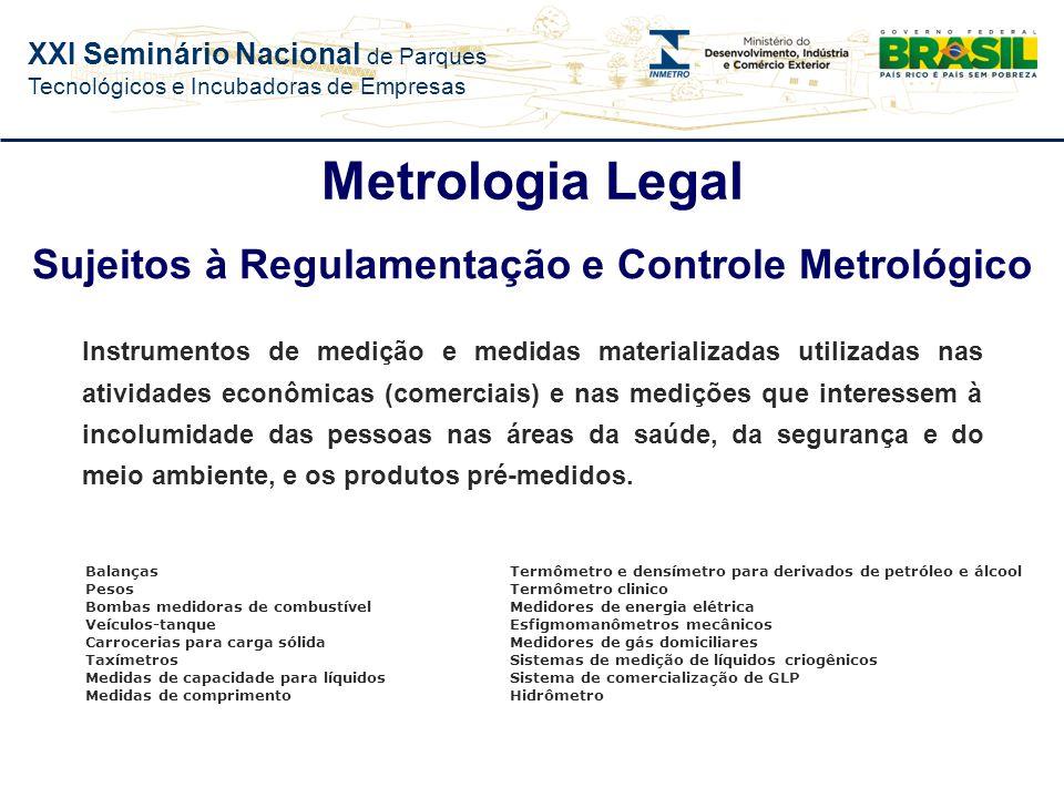 XXI Seminário Nacional de Parques Tecnológicos e Incubadoras de Empresas Parte da metrologia que trata das unidades de medida, métodos de medição e in