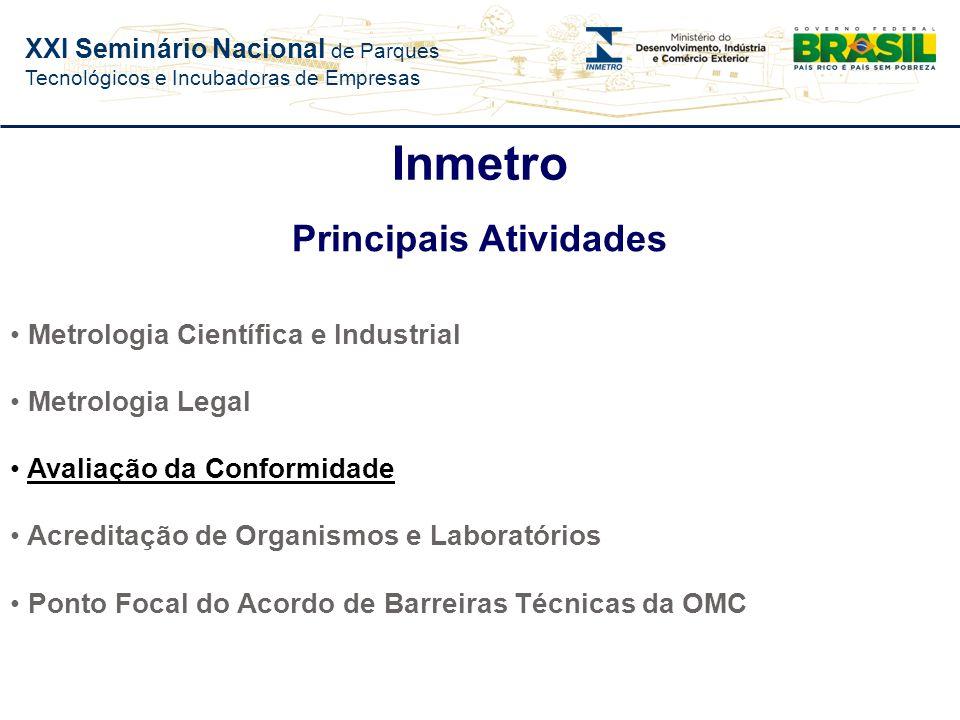 XXI Seminário Nacional de Parques Tecnológicos e Incubadoras de Empresas Inmetro Missão Prover confiança à sociedade brasileira nas medições e nos pro