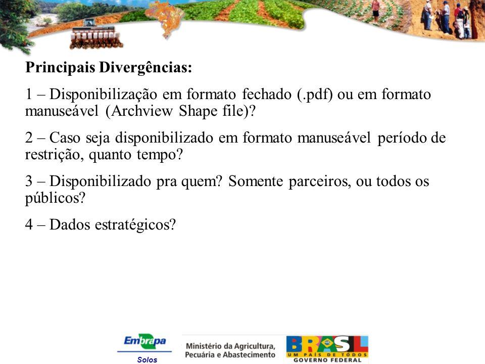 Solos Principais Divergências: 1 – Disponibilização em formato fechado (.pdf) ou em formato manuseável (Archview Shape file).