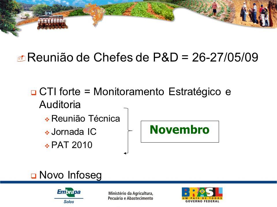 Reunião de Chefes de P&D = 26-27/05/09 CTI forte = Monitoramento Estratégico e Auditoria Reunião Técnica Jornada IC PAT 2010 Novo Infoseg Novembro