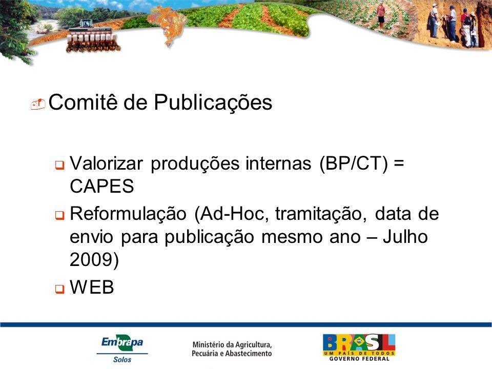 Comitê de Publicações Valorizar produções internas (BP/CT) = CAPES Reformulação (Ad-Hoc, tramitação, data de envio para publicação mesmo ano – Julho 2009) WEB