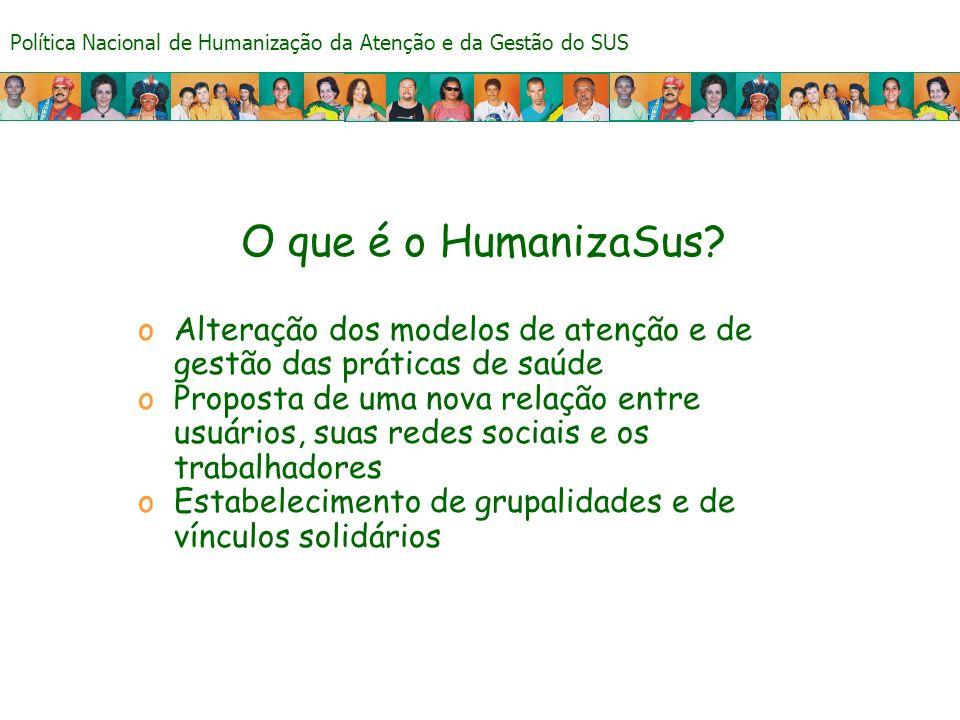 Política Nacional de Humanização da Atenção e da Gestão do SUS O que é o HumanizaSus? oAlteração dos modelos de atenção e de gestão das práticas de sa