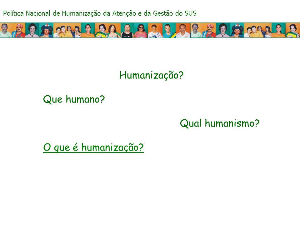 Política Nacional de Humanização da Atenção e da Gestão do SUS Humanização? Que humano? Qual humanismo? O que é humanização?