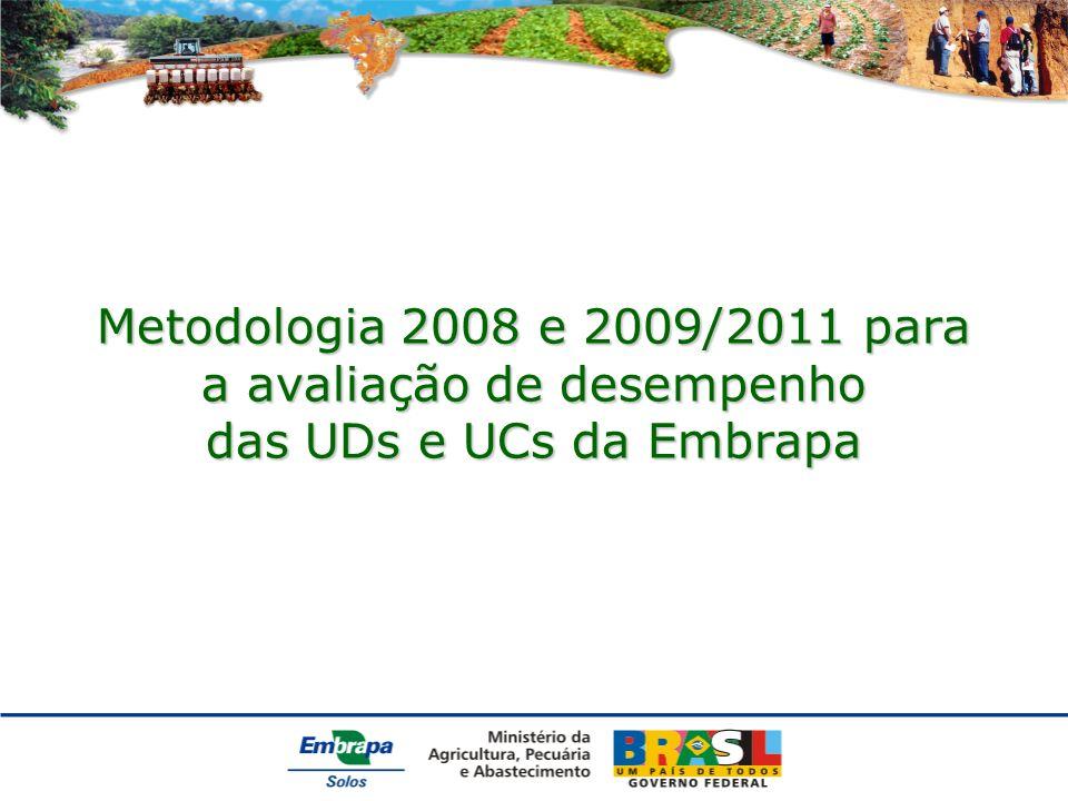 Metodologia 2008 e 2009/2011 para a avaliação de desempenho das UDs e UCs da Embrapa