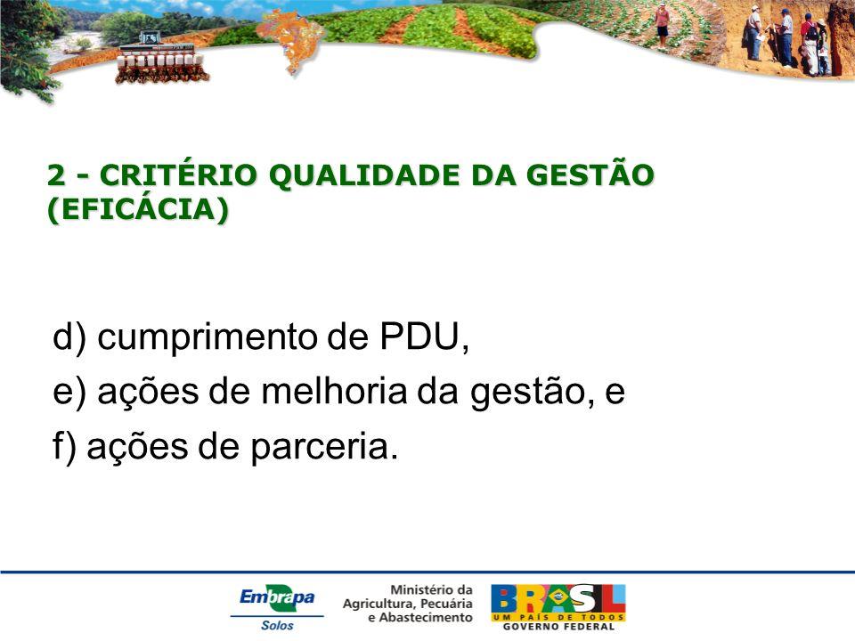2 - CRITÉRIO QUALIDADE DA GESTÃO (EFICÁCIA) d) cumprimento de PDU, e) ações de melhoria da gestão, e f) ações de parceria.
