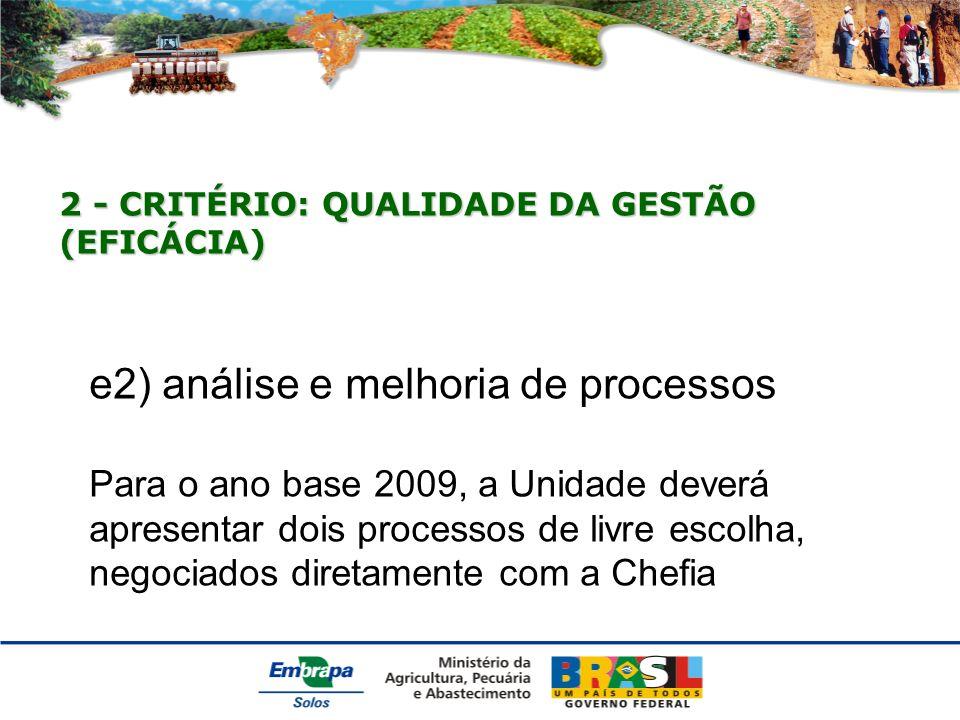 e2) análise e melhoria de processos Para o ano base 2009, a Unidade deverá apresentar dois processos de livre escolha, negociados diretamente com a Chefia