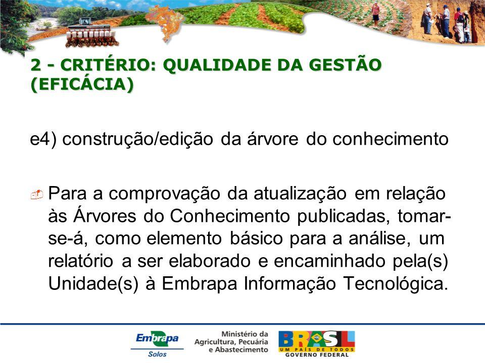 2 - CRITÉRIO: QUALIDADE DA GESTÃO (EFICÁCIA) e4) construção/edição da árvore do conhecimento Para a comprovação da atualização em relação às Árvores do Conhecimento publicadas, tomar- se-á, como elemento básico para a análise, um relatório a ser elaborado e encaminhado pela(s) Unidade(s) à Embrapa Informação Tecnológica.