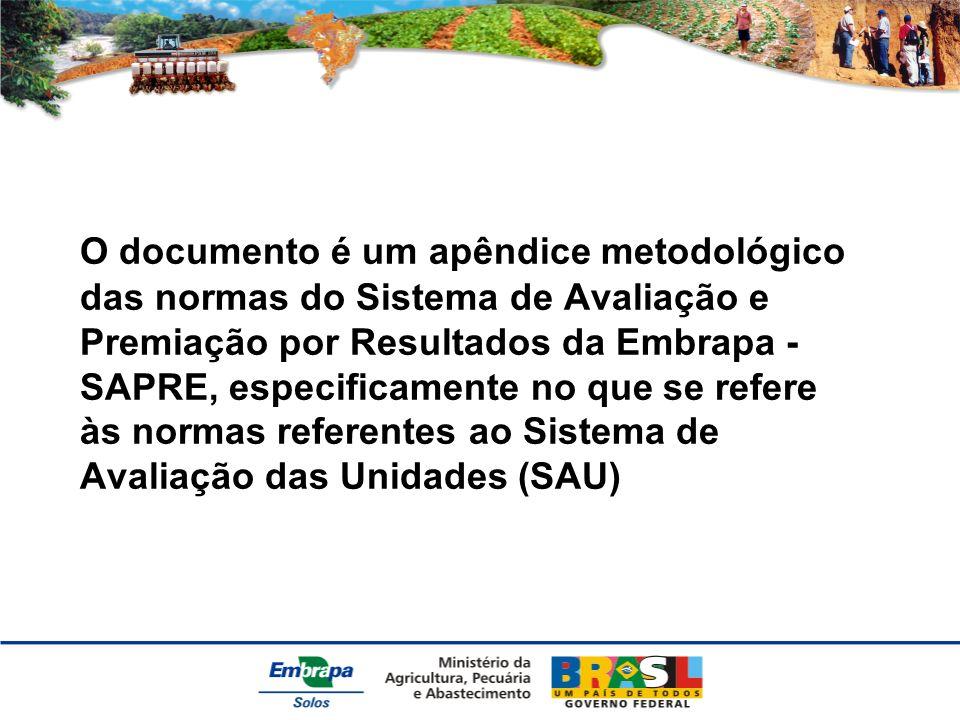 O documento é um apêndice metodológico das normas do Sistema de Avaliação e Premiação por Resultados da Embrapa - SAPRE, especificamente no que se refere às normas referentes ao Sistema de Avaliação das Unidades (SAU)