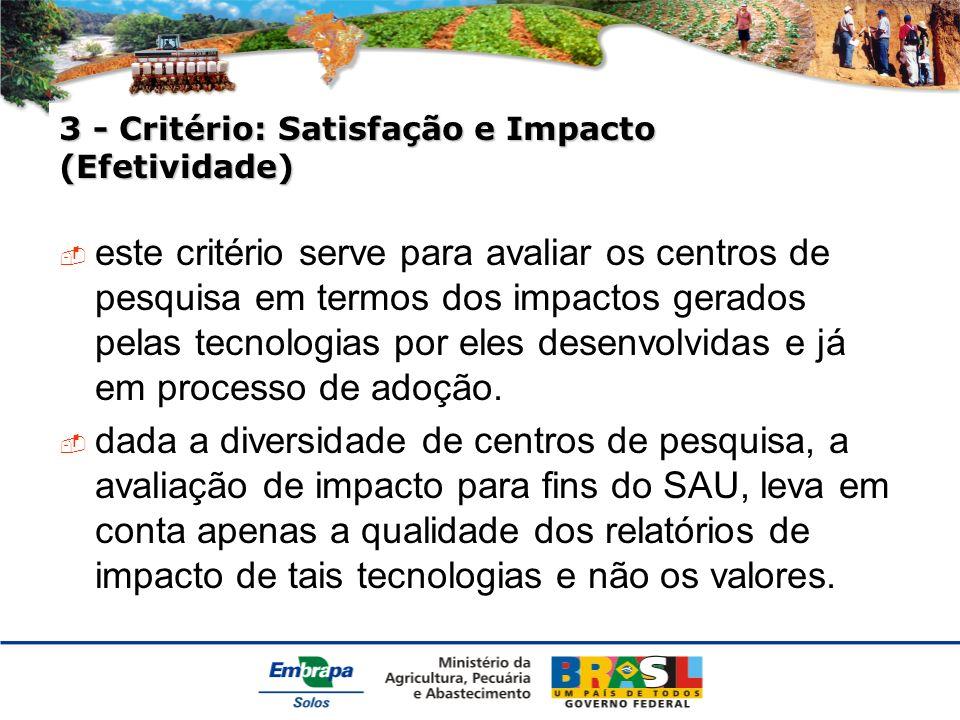 3 - Critério: Satisfação e Impacto (Efetividade) este critério serve para avaliar os centros de pesquisa em termos dos impactos gerados pelas tecnologias por eles desenvolvidas e já em processo de adoção.