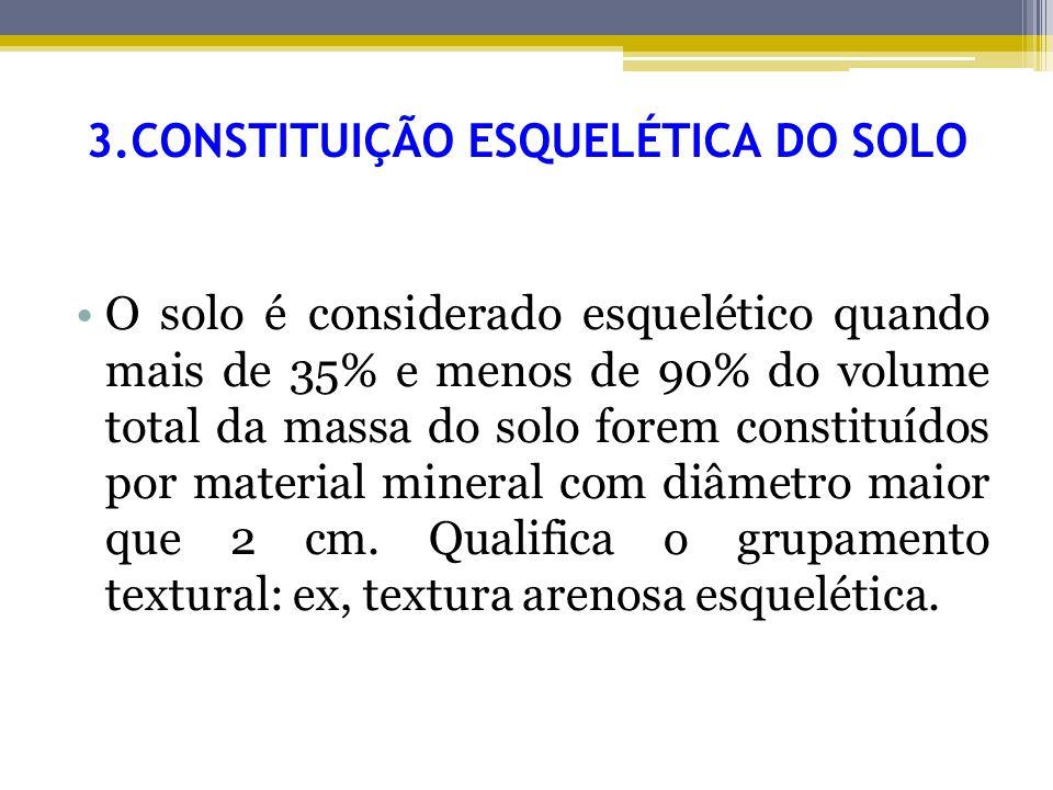 3.CONSTITUIÇÃO ESQUELÉTICA DO SOLO O solo é considerado esquelético quando mais de 35% e menos de 90% do volume total da massa do solo forem constituí