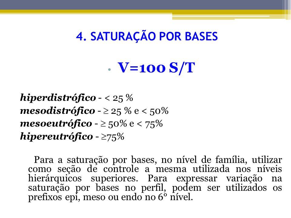 4. SATURAÇÃO POR BASES V=100 S/T hiperdistrófico - < 25 % mesodistrófico - 25 % e < 50% mesoeutrófico - 50% e < 75% hipereutrófico - 75% Para a satura
