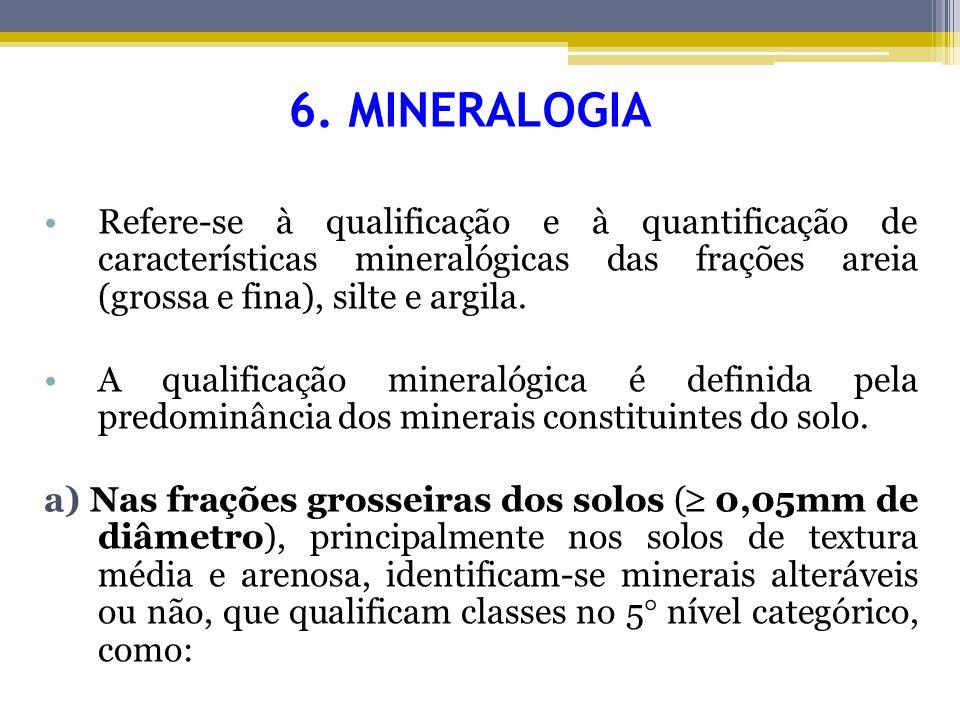 6. MINERALOGIA Refere-se à qualificação e à quantificação de características mineralógicas das frações areia (grossa e fina), silte e argila. A qualif