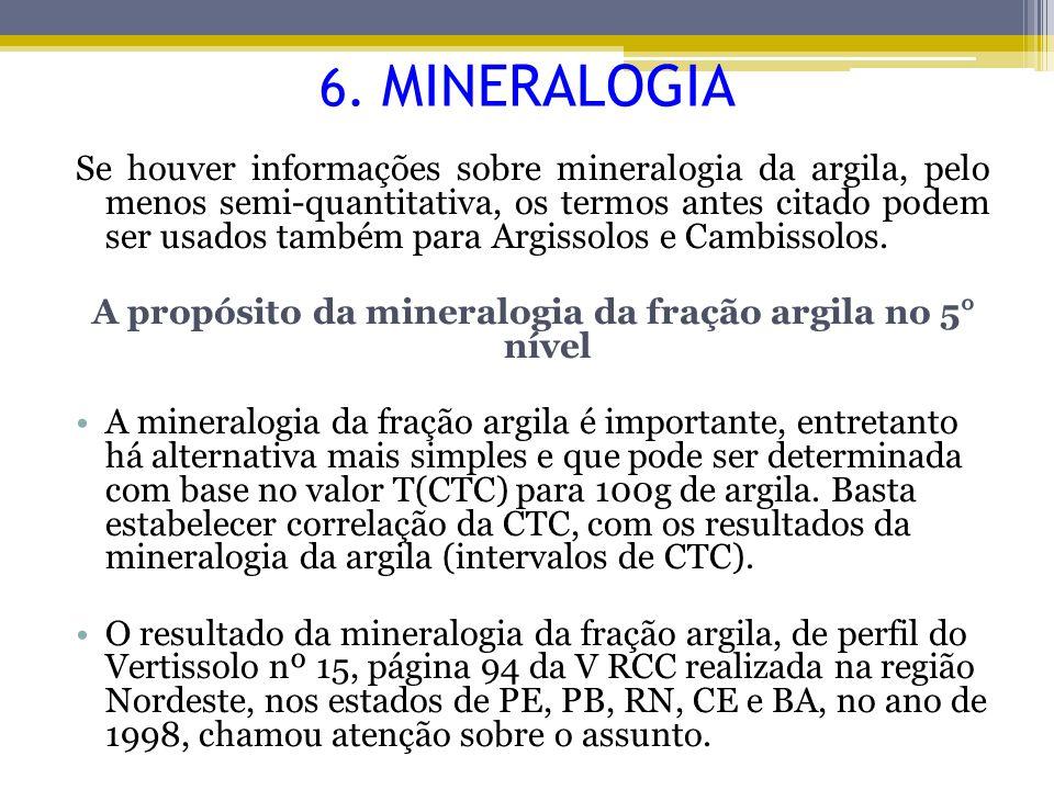 Se houver informações sobre mineralogia da argila, pelo menos semi-quantitativa, os termos antes citado podem ser usados também para Argissolos e Camb