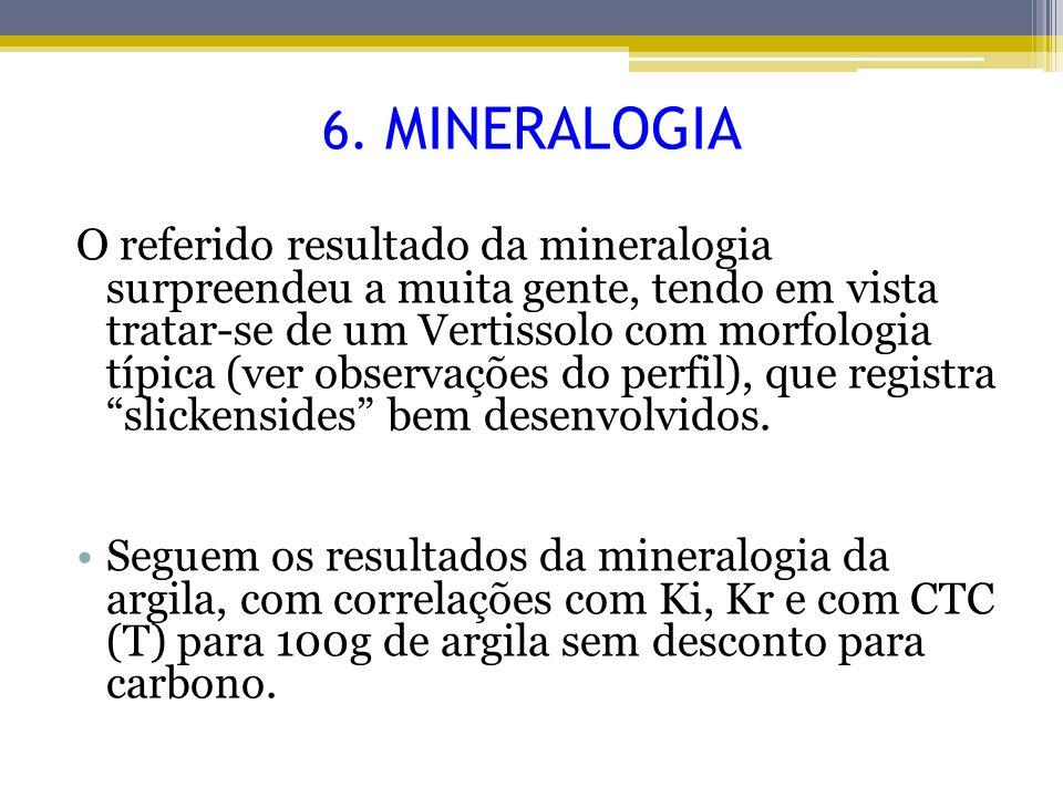 O referido resultado da mineralogia surpreendeu a muita gente, tendo em vista tratar-se de um Vertissolo com morfologia típica (ver observações do per