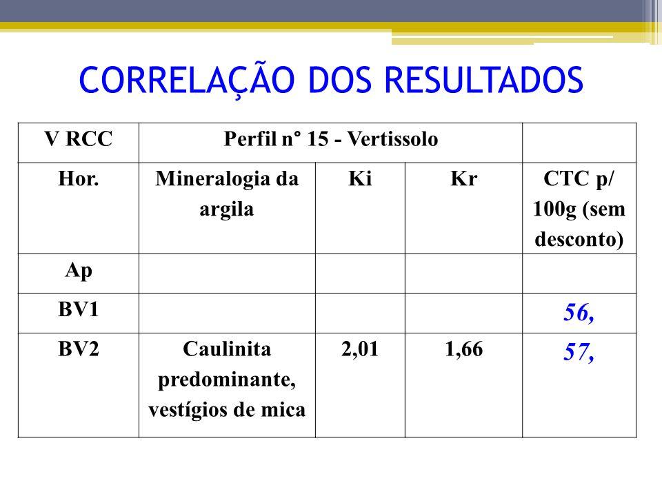 V RCCPerfil n° 15 - Vertissolo Hor. Mineralogia da argila KiKr CTC p/ 100g (sem desconto) Ap BV1 56, BV2Caulinita predominante, vestígios de mica 2,01