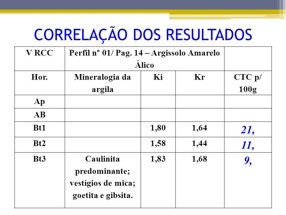 V RCC Perfil n° 01/ Pag. 14 – Argissolo Amarelo Álico Hor. Mineralogia da argila KiKr CTC p/ 100g Ap AB Bt11,801,64 21, Bt21,581,44 11, Bt3Caulinita p