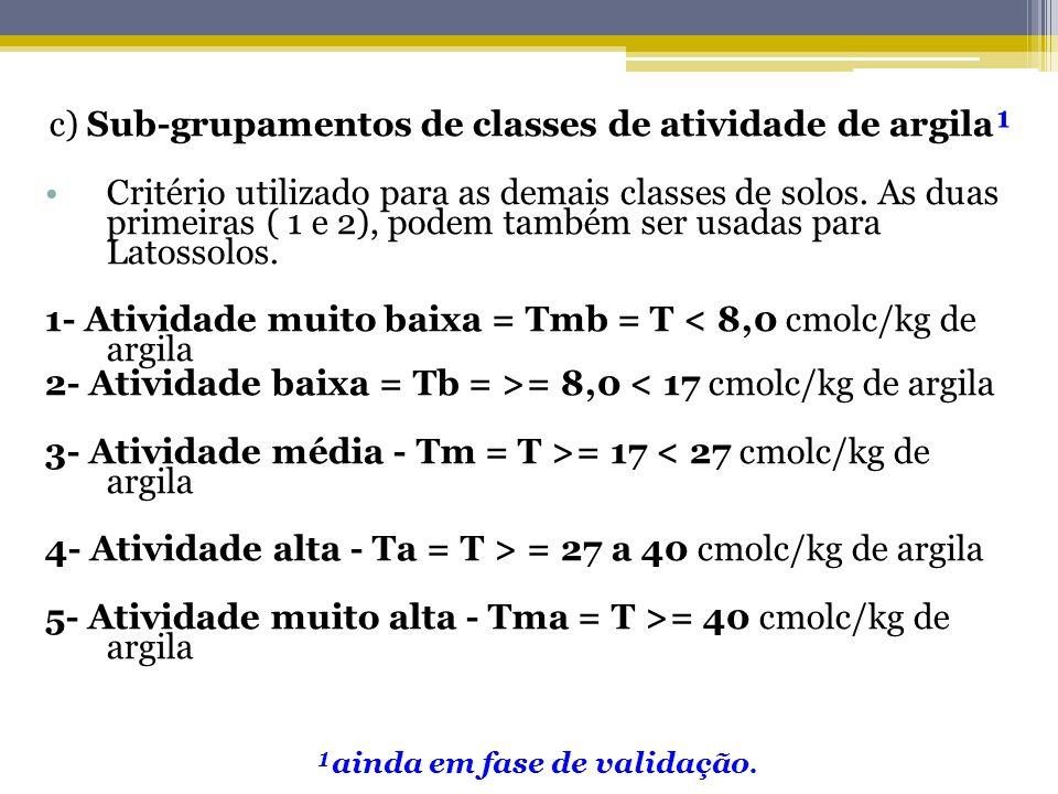 c) Sub-grupamentos de classes de atividade de argila¹ Critério utilizado para as demais classes de solos. As duas primeiras ( 1 e 2), podem também ser