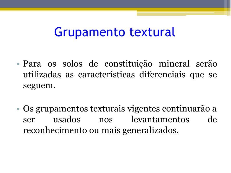Grupamento textural Para os solos de constituição mineral serão utilizadas as características diferenciais que se seguem. Os grupamentos texturais vig