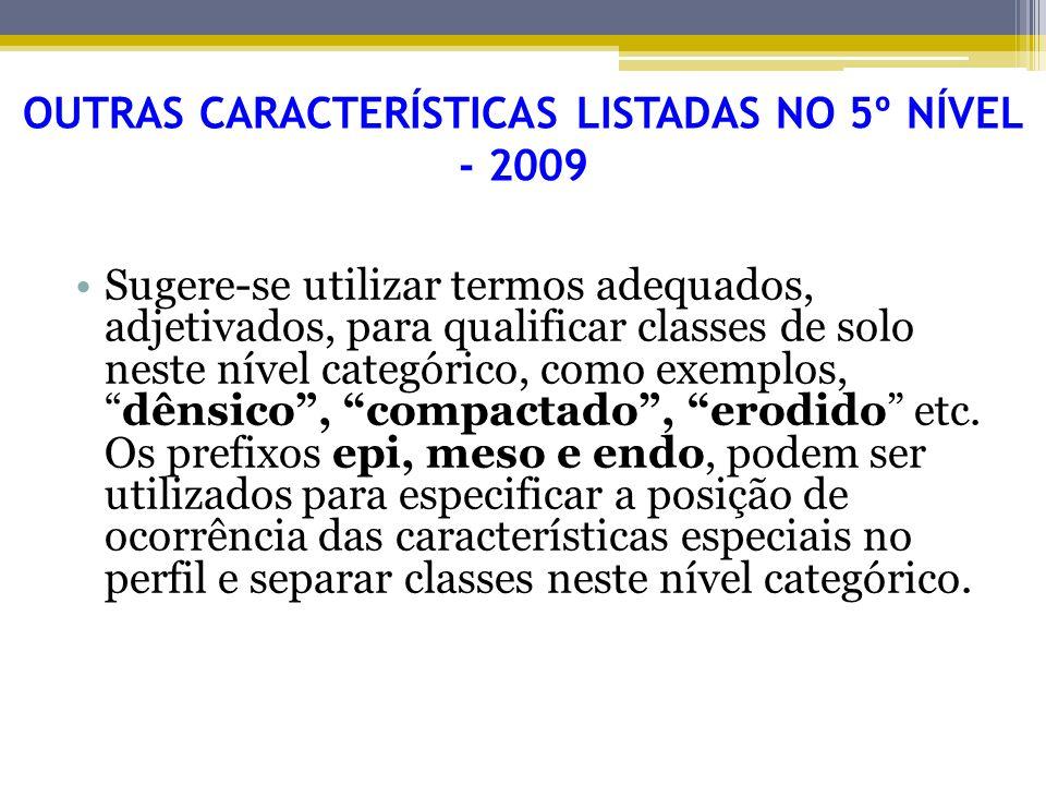 Sugere-se utilizar termos adequados, adjetivados, para qualificar classes de solo neste nível categórico, como exemplos,dênsico, compactado, erodido e